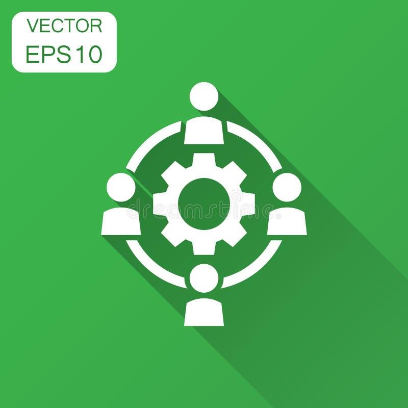 De delocalisering van bedrijfssamenwerkings vectorpictogram in vlakke stijl pe royalty-vrije illustratie