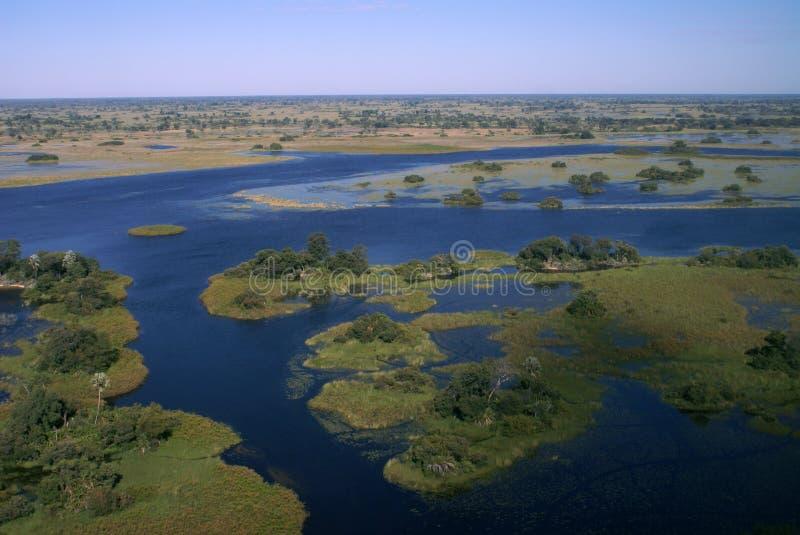 De Delta van Okavango door vliegtuig stock foto