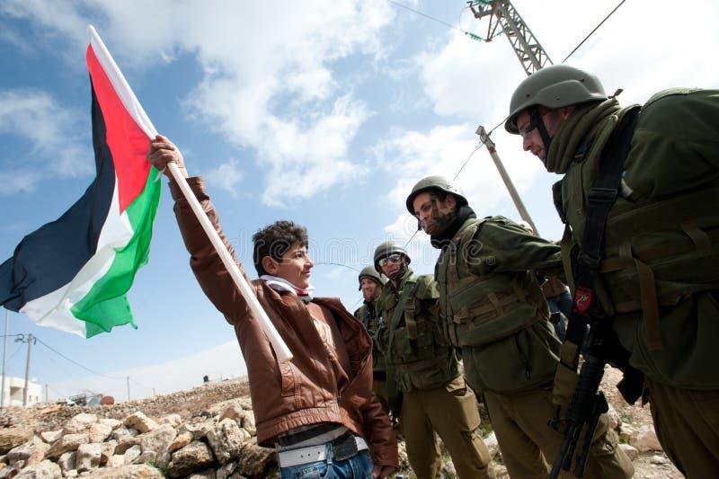 De Demonstratie van de anti-Muur van Cisjordanië stock fotografie
