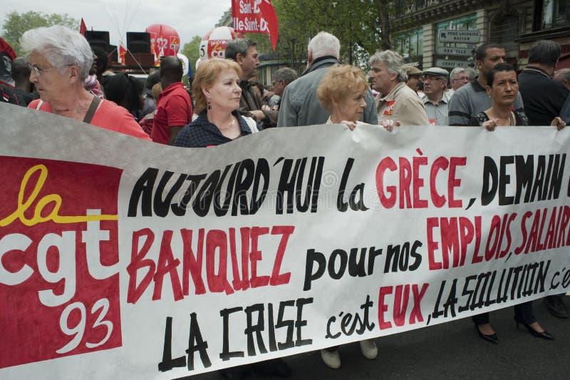 De Demonstratie van de meidag, Parijs, Frankrijk stock foto