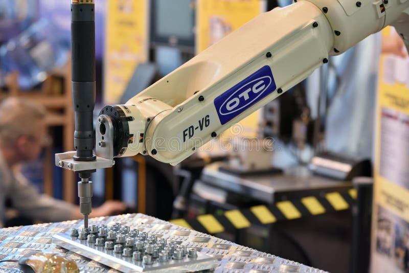 De demonstratie van het robotwapen stock afbeelding