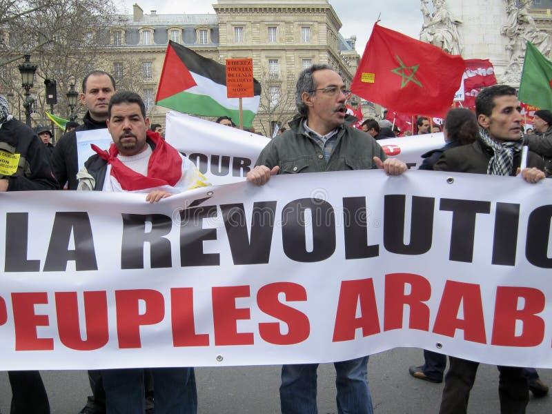 De Demonstratie van Parijs, Frankrijk, Libië, stock fotografie