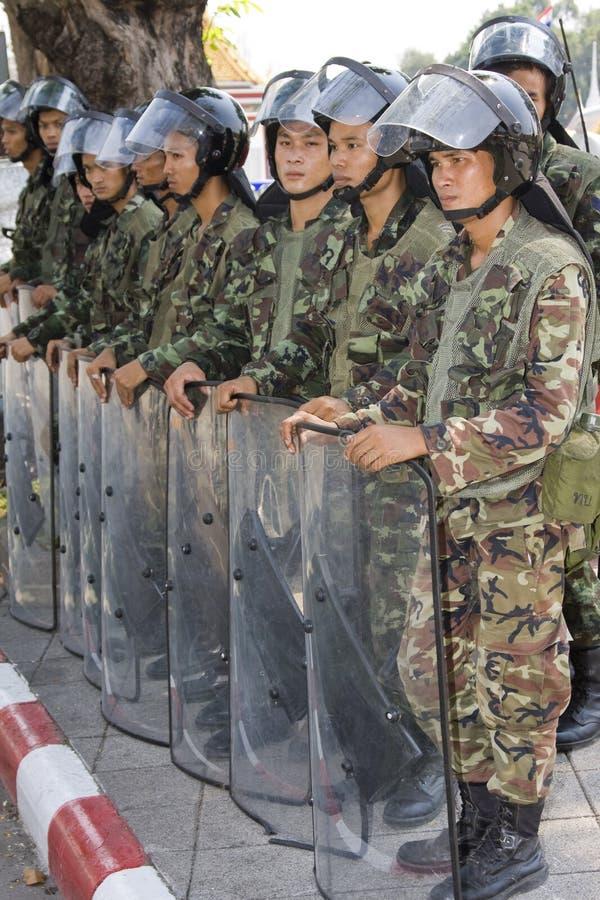 De demonstratiesystemen kwamen op het Thaise kapitaal samen royalty-vrije stock foto