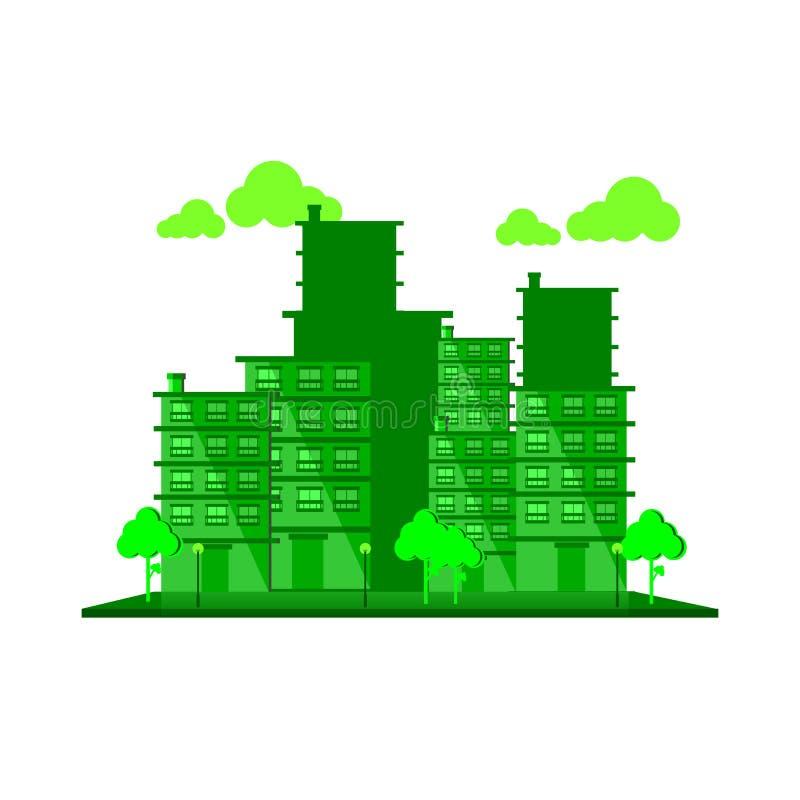 De denkbeeldige groene stad royalty-vrije illustratie