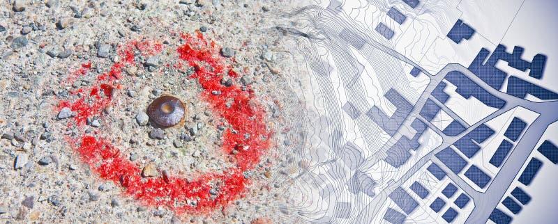 De denkbeeldige kadastrale die kaart van grondgebied met hulpkaart en het punt van het metaalonderzoek bevestigde op beton voor h stock foto's
