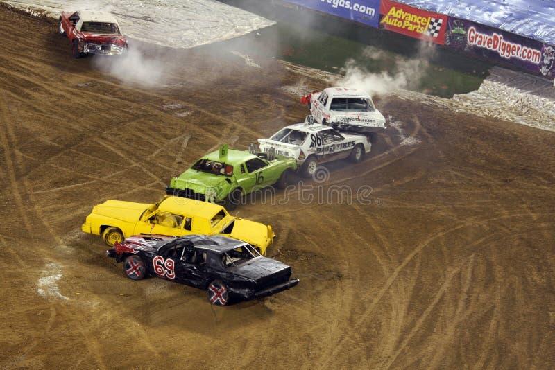De derbyauto's van de vernieling stock foto
