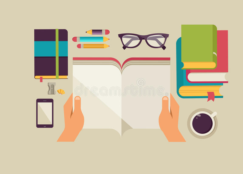 De Desktop van lezingsboeken, reeks vlakke pictogrammen vector illustratie
