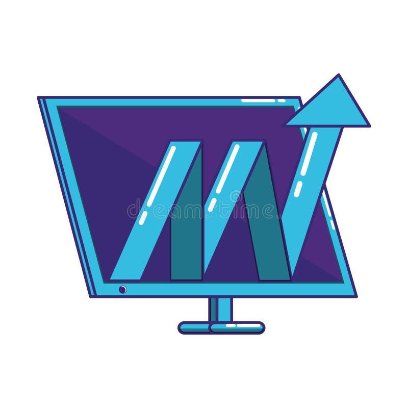 De Desktop van de monitorcomputer met pijlstatistieken royalty-vrije illustratie