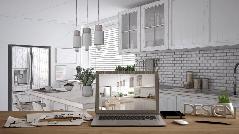 De Desktopconcept van de architectenontwerper, laptop op houten het werkbureau met het scherm die binnenlands ontwerpproject, bla stock illustratie