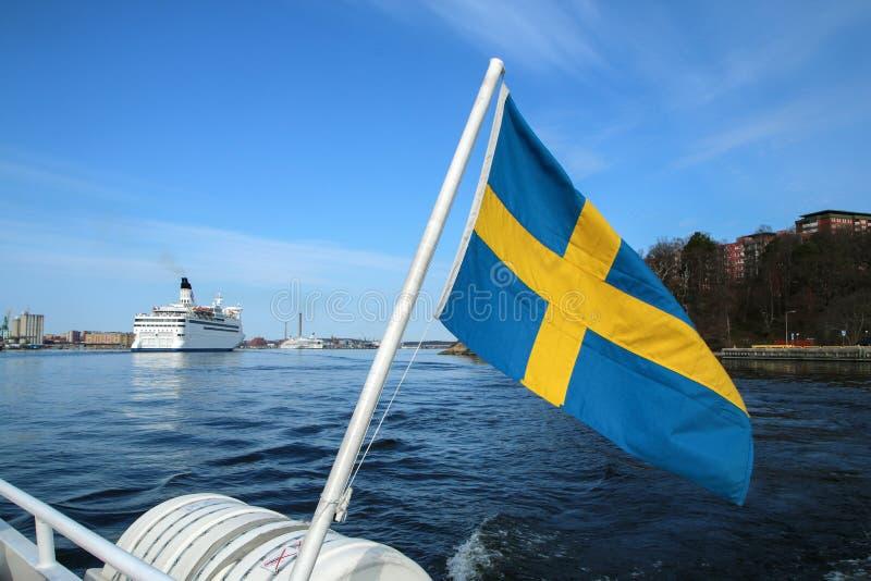 De detail Zweedse vlag die op de veerboot hangen royalty-vrije stock foto's