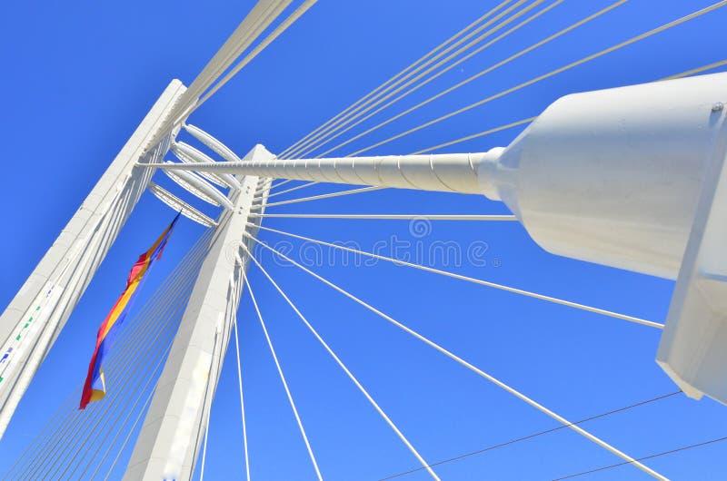 De details van de macht van een hangbrug stock afbeeldingen