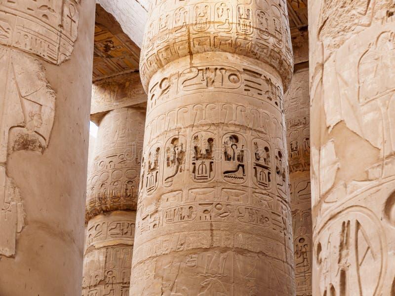 De Details van de Karnakkolom van de Oude Egyptische Beschaving stock afbeeldingen