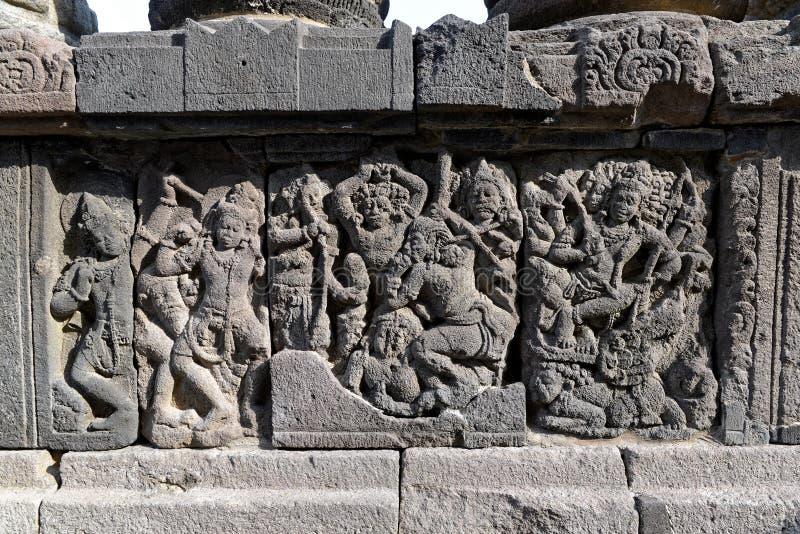 De details van de Prambanantempel stock afbeeldingen