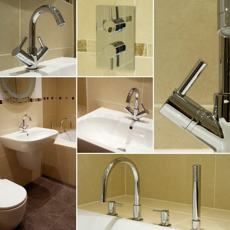 De detailscollage van de badkamers