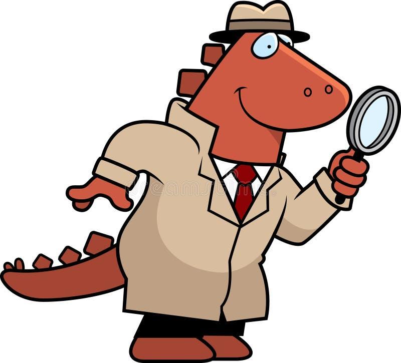 De Detective van de beeldverhaaldinosaurus royalty-vrije illustratie