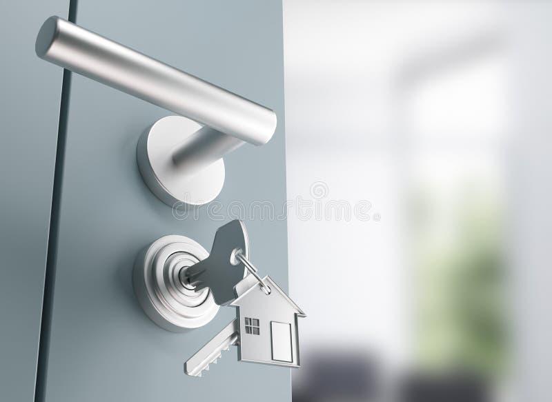 De deur met sleutels, nieuw huis, open 3d ruimte, geeft illustratie terug vector illustratie