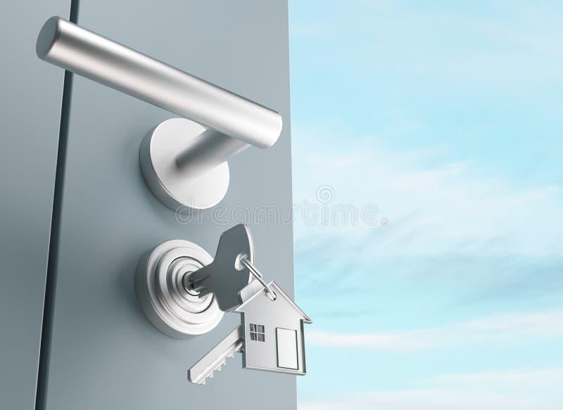 De deur met sleutels, nieuw huis, open 3d ruimte, geeft illustratie terug stock illustratie