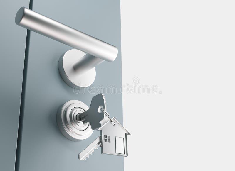 De deur met sleutels, nieuw huis, open 3d ruimte, geeft illustratie terug royalty-vrije illustratie