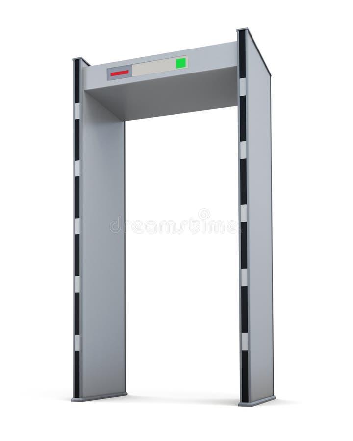 De deur van de metaaldetector op witte achtergrond wordt geïsoleerd die het 3d teruggeven royalty-vrije illustratie