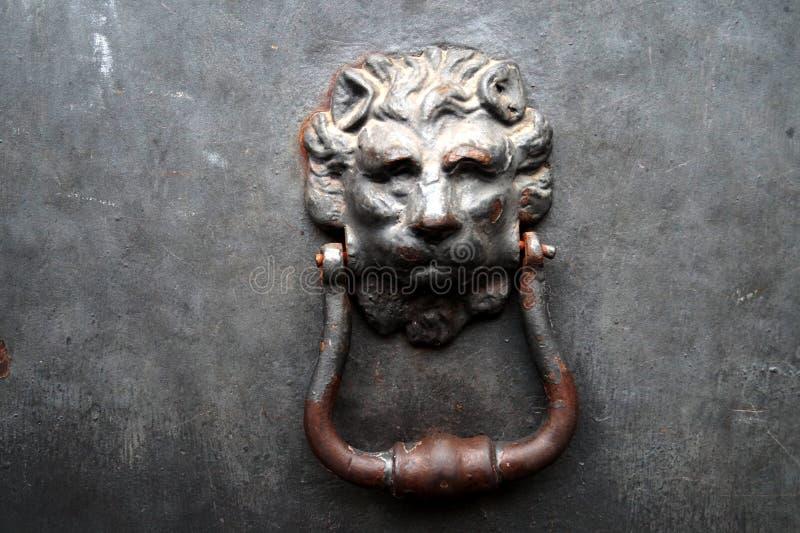 De deurkloppers van de leeuw stock afbeelding
