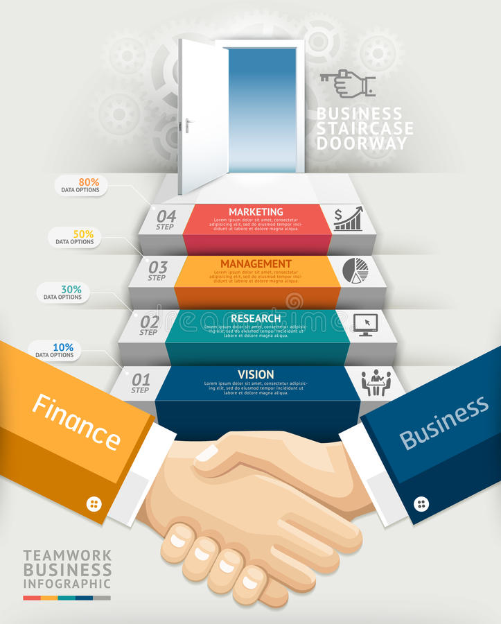 De deuropenings conceptuele infographics van de bedrijfsgroepswerktrap royalty-vrije illustratie
