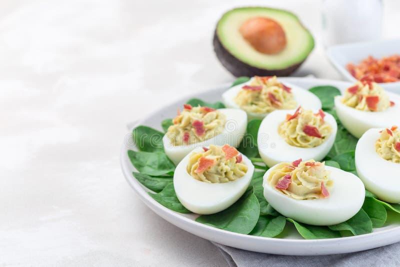 De Deviledeieren vulden met avocado, eierdooier en mayonaise vullen, versierd met bacon, op spinaziebladeren, horizontale exempla stock afbeelding
