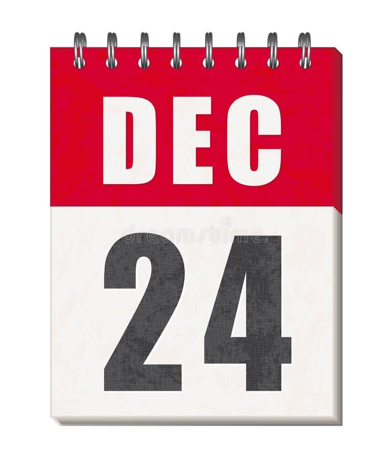 24 de dezembro ícone da página do calendário Feliz Natal! ilustração stock