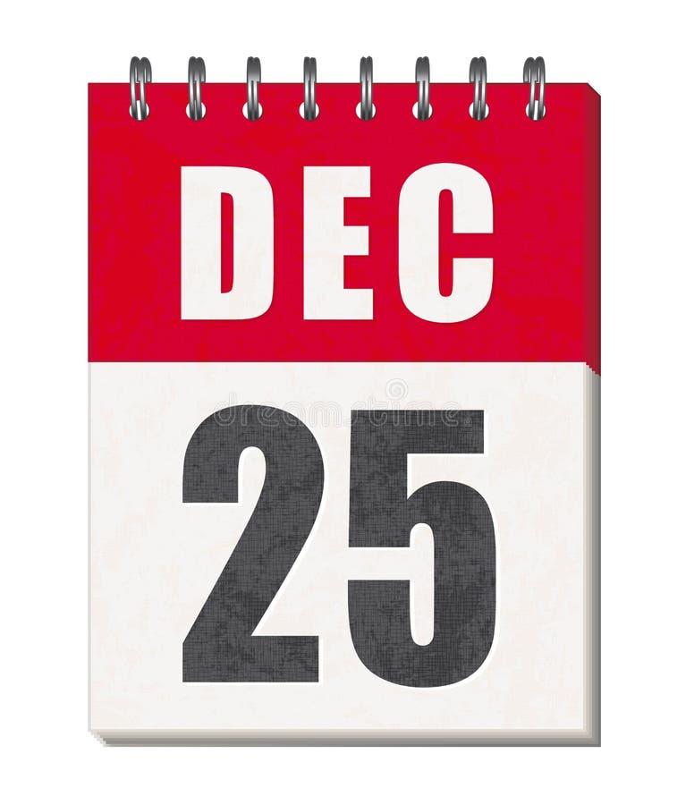 25 de dezembro ícone da página do calendário Feliz Natal! ilustração do vetor