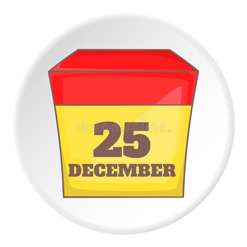 25 de dezembro ícone do calendário, estilo dos desenhos animados ilustração stock