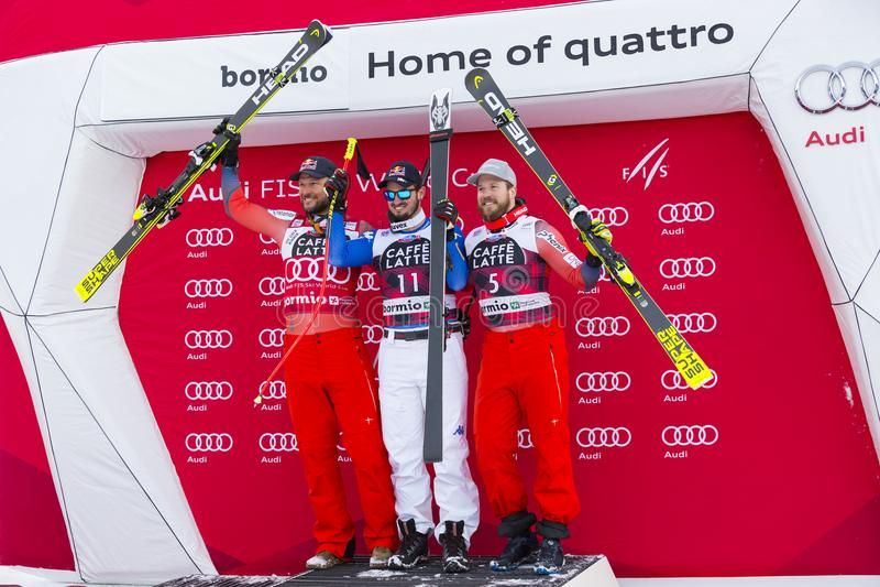 28 de dezembro de 2017 - Bormio Itália - Audi FIS Ski World Cup imagens de stock