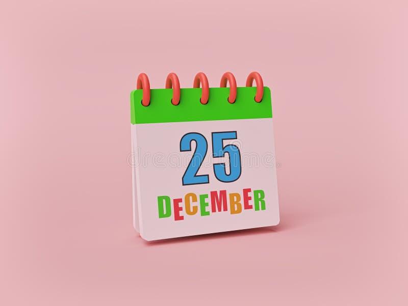 25 de dezembro, calendário mínimo bonito no fundo pastel data de dia do Natal rendi??o 3d ilustração royalty free