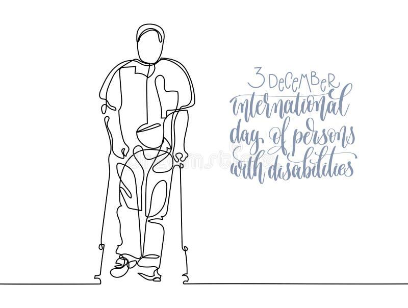 3 de dezembro cartaz da tipografia da rotulação da mão do dia da inabilidade do mundo ilustração stock