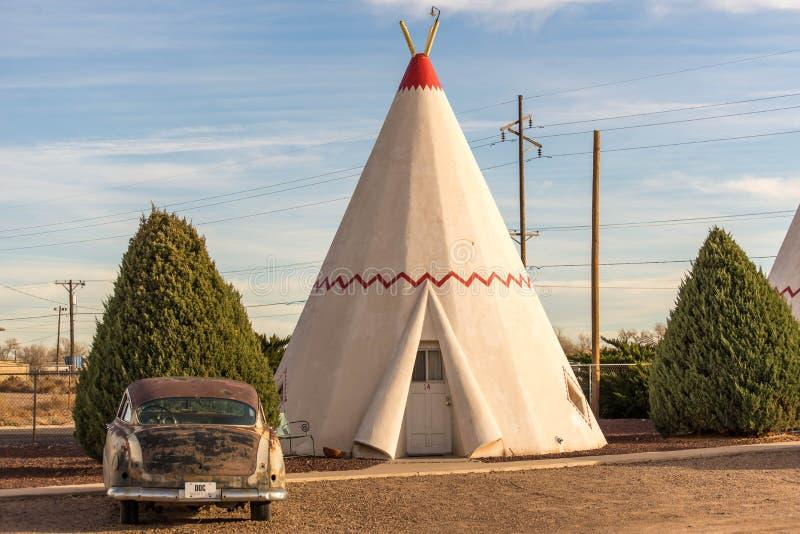 21 de dezembro de 2014 - hotel da tenda, Holbrook, AZ, EUA: hote da tenda imagem de stock