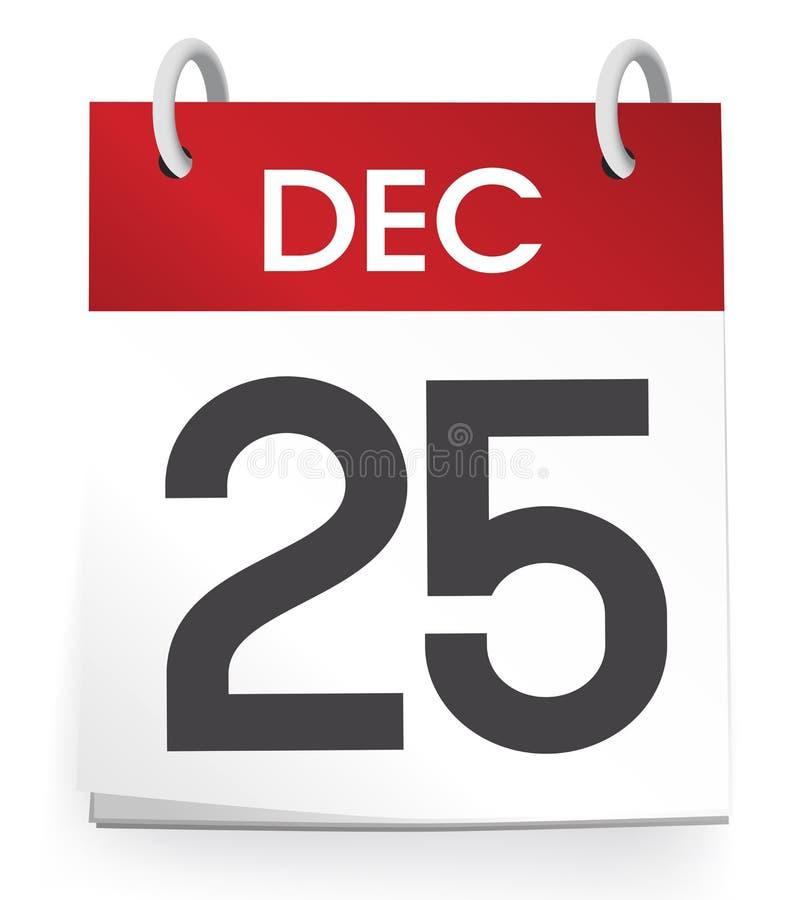 25 de dezembro o dia de Natal do calendário comemora ilustração do vetor