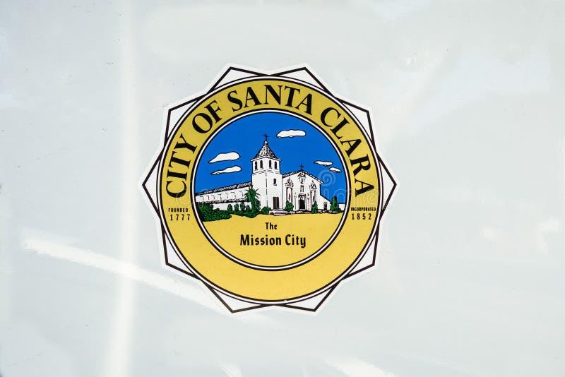 27 de dezembro de 2017 Santa Clara/CA/EUA - cidade de Santa Clara, o selo da cidade da missão que descreve a missão espanhola vel fotos de stock royalty free