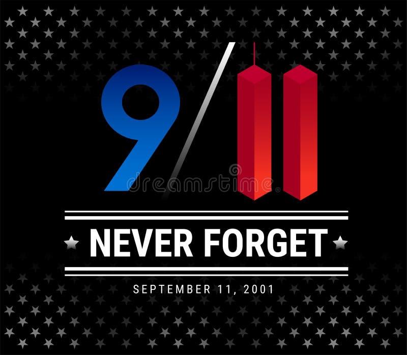 9/11 de dia do patriota, o 11 de setembro, nós nunca esqueceremos o vetor IL ilustração stock