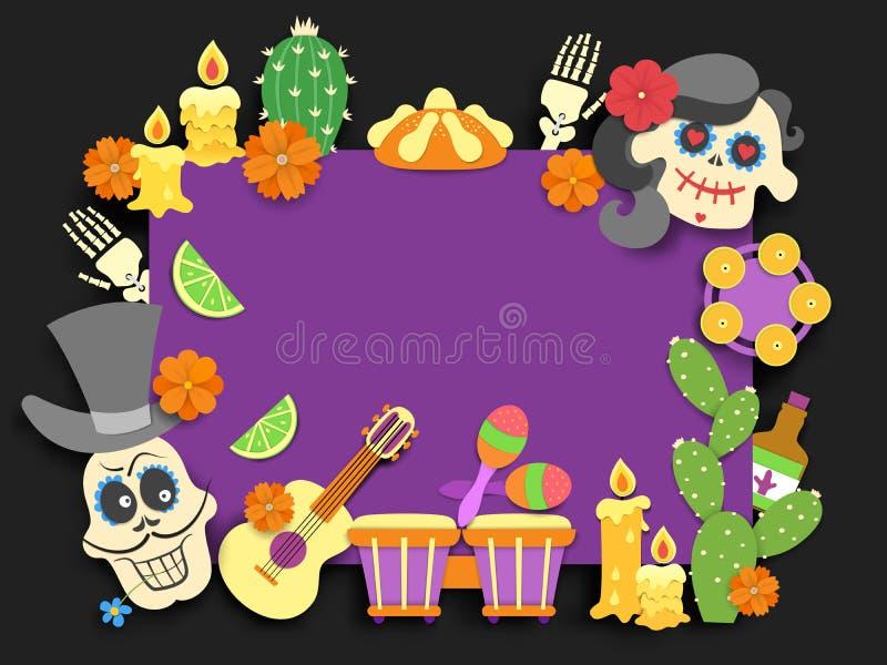 de dia los muertos 亡灵节传统墨西哥假日飞行物 与阴影的纸被切开的样式平的装饰  向量例证