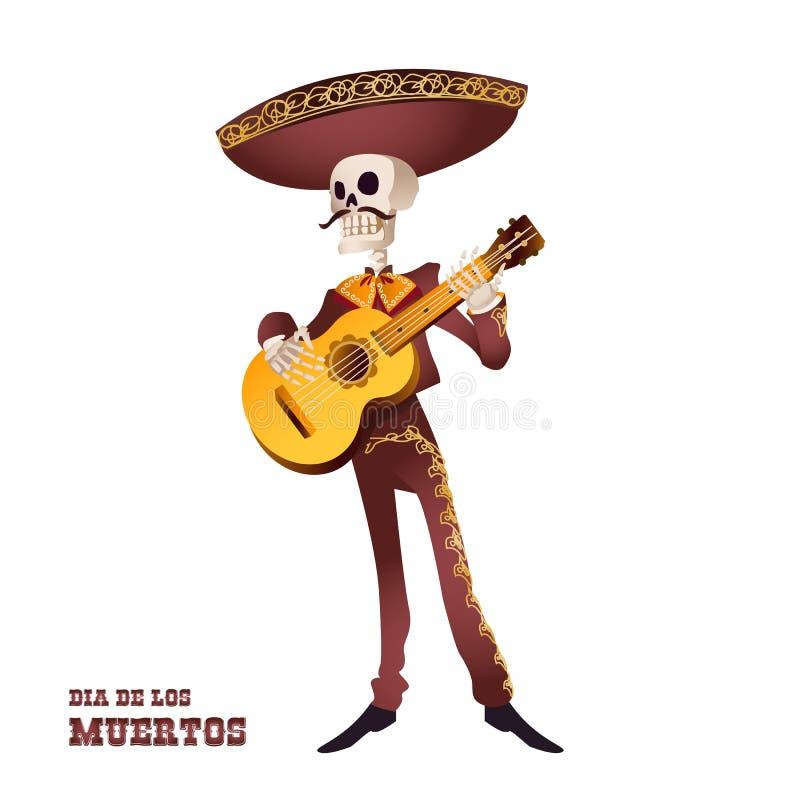 de dia muertos 墨西哥流浪乐队音乐家骨骼 墨西哥传统 向量例证