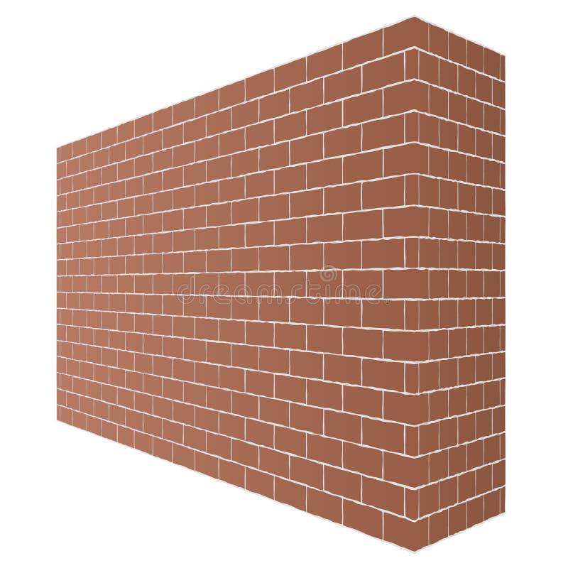 De diagonale bruine bakstenen muurtextuur met een perspectief is geïsoleerd op witte achtergrond vector illustratie