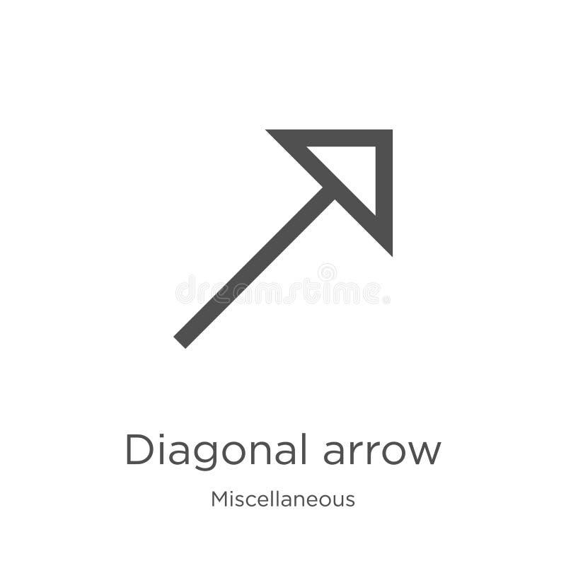 de diagonale vector van het pijlpictogram van diverse inzameling De dunne van het het overzichtspictogram van de lijn diagonale p vector illustratie