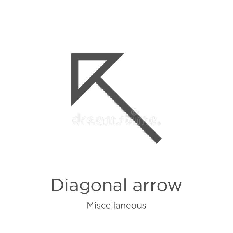 de diagonale vector van het pijlpictogram van diverse inzameling De dunne van het het overzichtspictogram van de lijn diagonale p stock illustratie