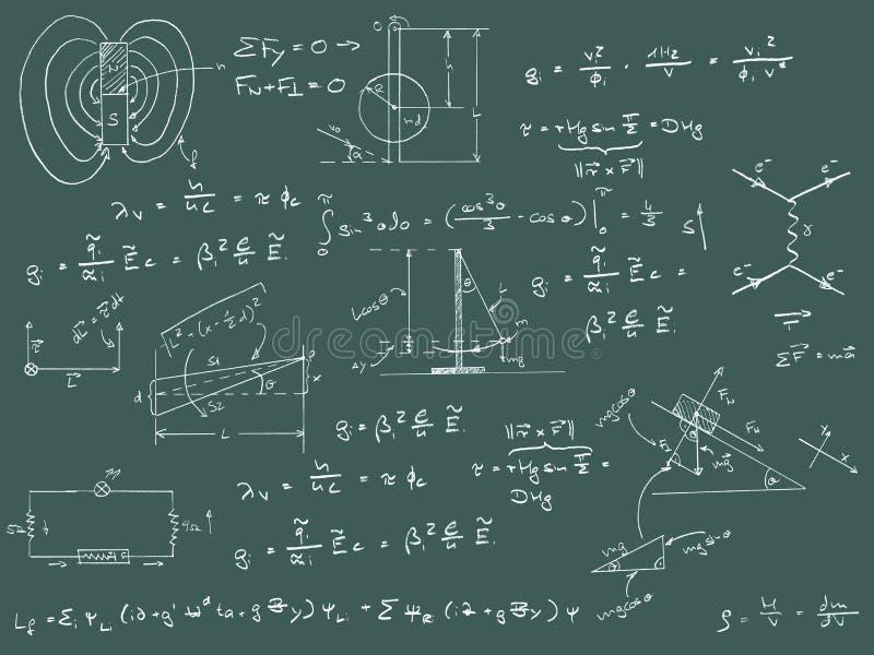 De diagrammen en de formules van de fysica royalty-vrije illustratie