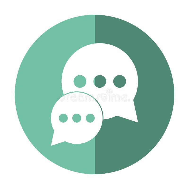 De dialoog die van de bellenbespreking sociale media groene cirkelschaduw babbelen vector illustratie