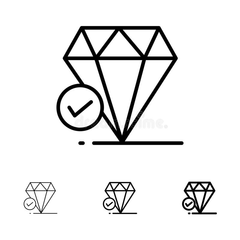 De diamant, Groot Juweel, denkt, het pictogramreeks van de Krijt Gewaagde en dunne zwarte lijn royalty-vrije illustratie