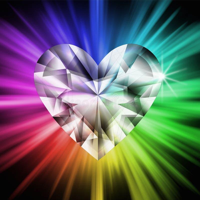 De diamant van het hart over regenboogkleuren stock illustratie