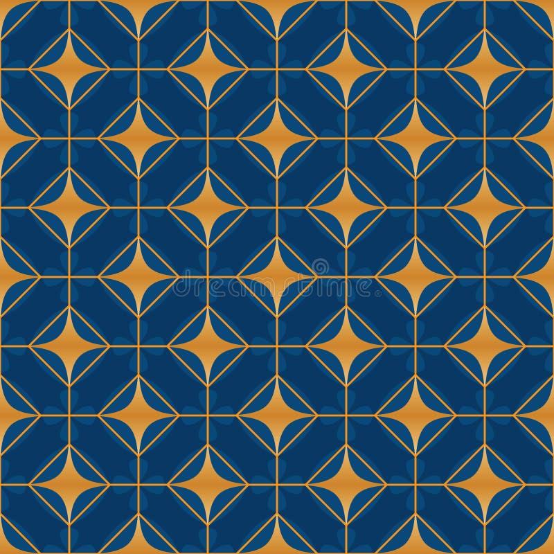 De diamantbloem van de diamantvorm binnen symmetrie naadloos patroon stock illustratie