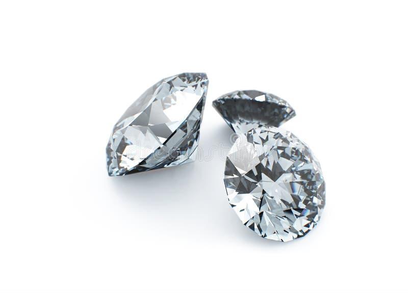 De diamanten clouseup isoleerden 3d model royalty-vrije illustratie