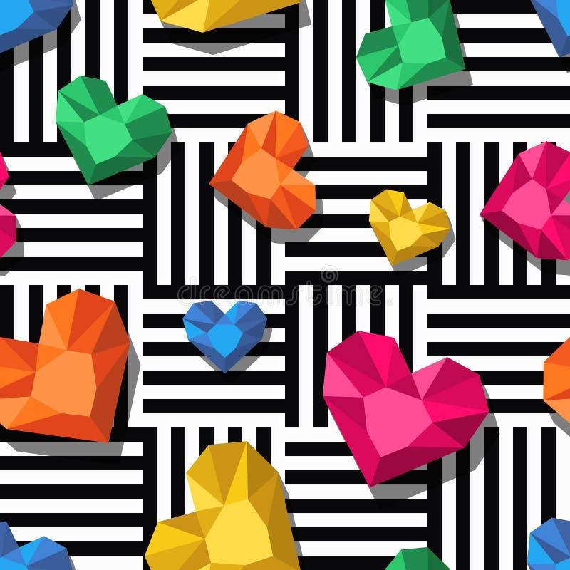 De diamanten, gemmen in hart vormen op zwarte witte strepen, naadloos p stock illustratie
