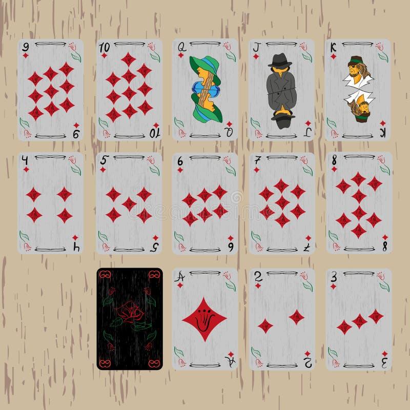 De diamanten van het speelkaartendek vector illustratie