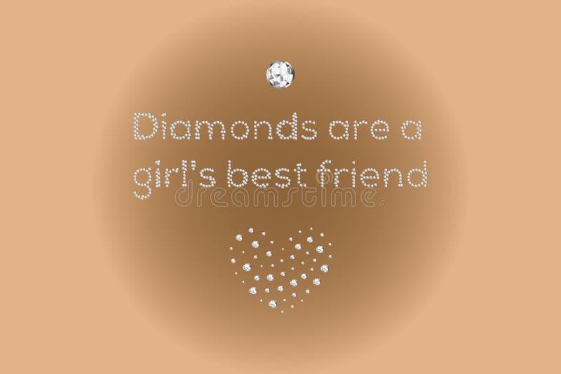 De diamanten zijn de beste die vriend van een meisje, tekst door diamanten wordt gemaakt vector illustratie